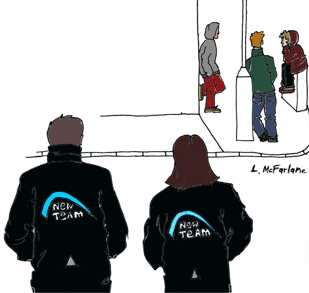 Line drawing of 3 young people hanging out on a street corner in Govan and New Team detached workers in crossing the street towards them.The workers are wearing jackets with the New Team logo on the back. Image by L.McFarlane.