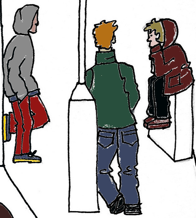 Drawing of young people hanging out on street corner.