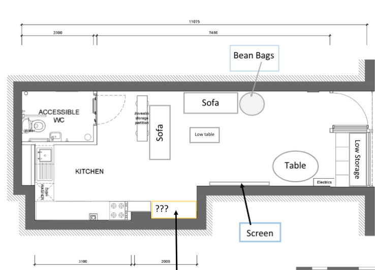 Plan of youth work space with accessible toilet, kitchen, sofas, table, screen, storage and bean bags.